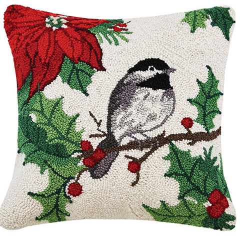 "Designer Sally Eckman Roberts Poinsettia Chickadee Hooked Pillow - 16"" Square"