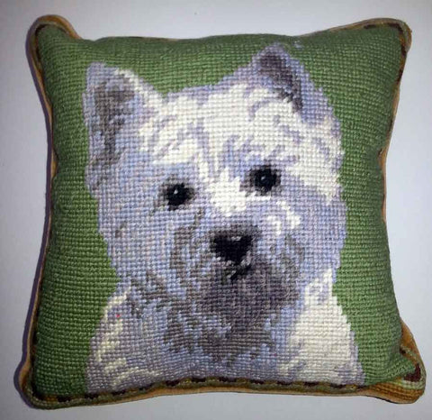 "Westie West Highland White Terrier Dog Portrait - 10"" Needlepoint Dog Pillow"
