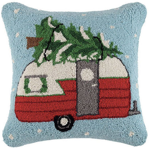 "Designer Carol Eldridge Retro Christmas Tree Camper - 16""x 16"" Wool Hooked Pillow"