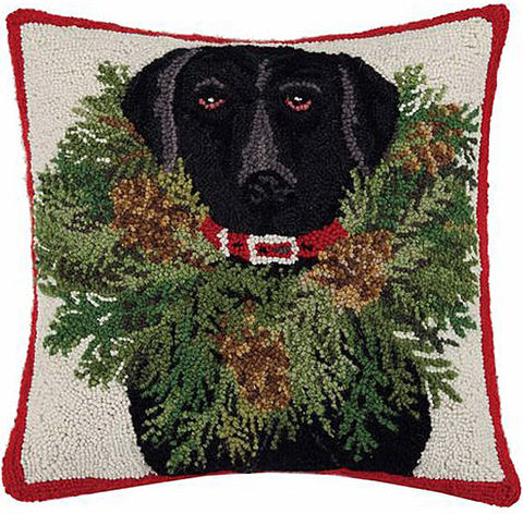 "Christmas Black Labrador Retriever Dog Wreath Hooked Wool Pillow by Designer Mary Lake Thompson -  18"" x 18"""