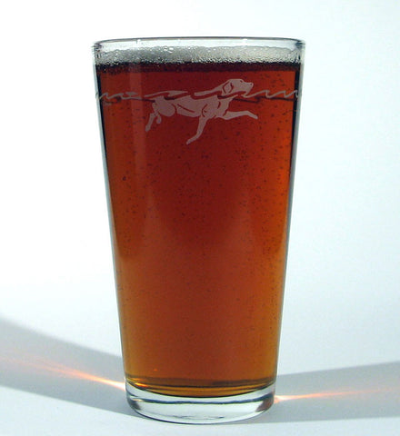 Hard Crystal Swimming Lab Dog Hand Kiln Fired Pub Pint Glass