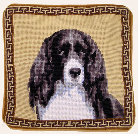 "English Springer Spaniel Dog Portrait - 10"" Needlepoint Dog Pillow"