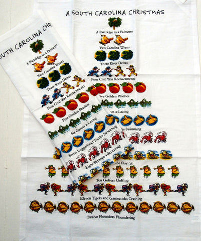 """Twelve Days of a South Carolina Christmas"" Flour Sack Cotton Kitchen Dish Towel Tea Towel - 18"" x 26"""