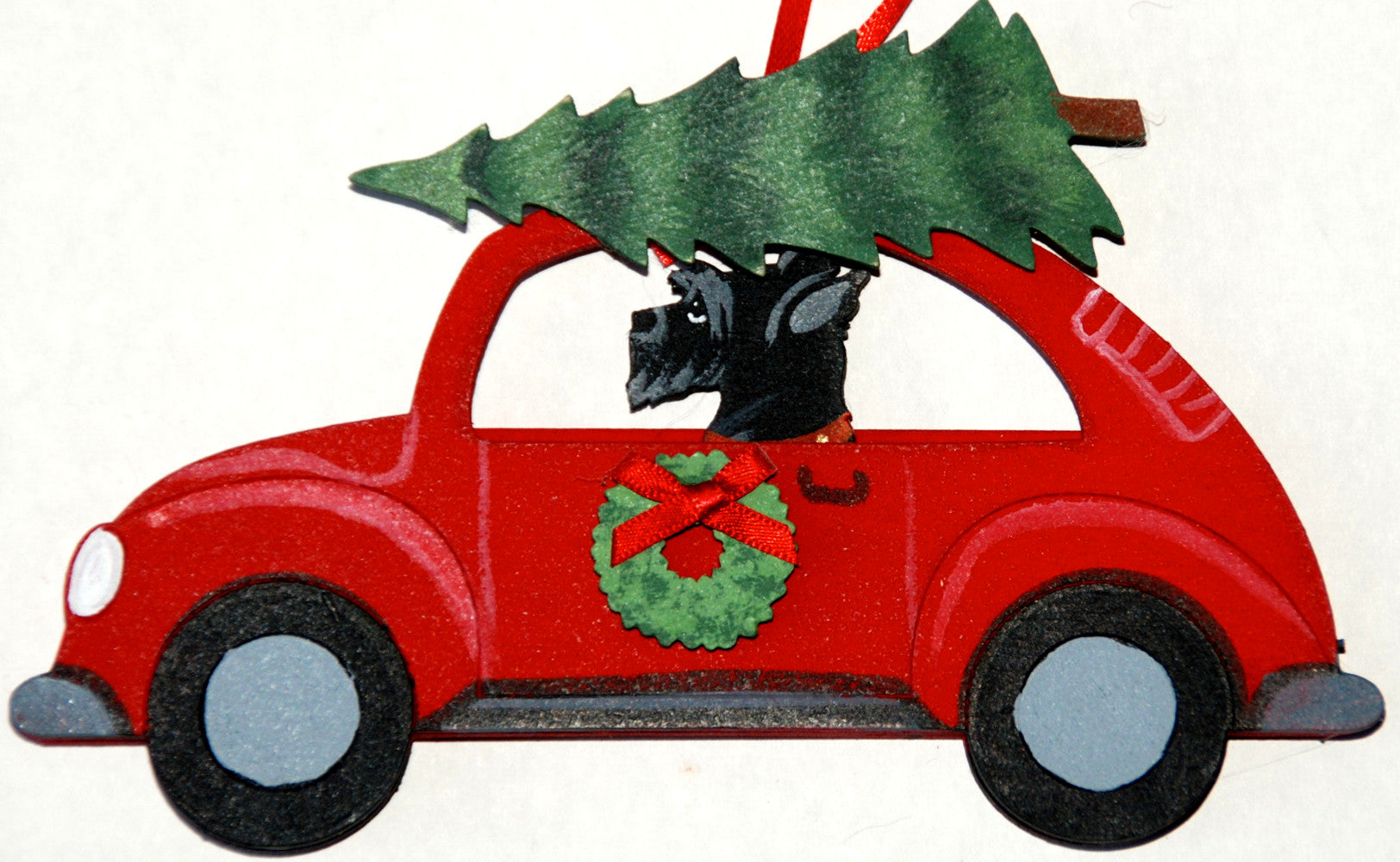 Dog christmas ornaments - Hippie 60 S Car Dog Wood 3 D Hand Painted Ornament Scottish Terrier