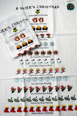 """Twelve Days of a Skier's Christmas"" Flour Sack Cotton Kitchen Dish Towel Tea Towel - 18"" x 26"""