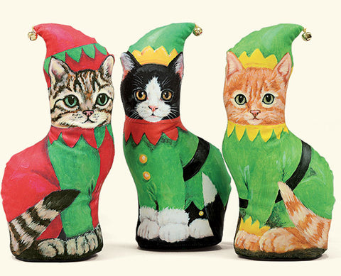 Christmas Elf Cat Kitten Silk Screened Weighted Mini Doorstop - Your Choice 3 Breeds