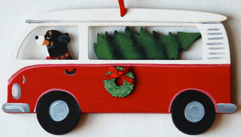Hippie Van Bus Dog Wood 3-D Hand Painted Ornament - Greater Swiss Mountain Dog