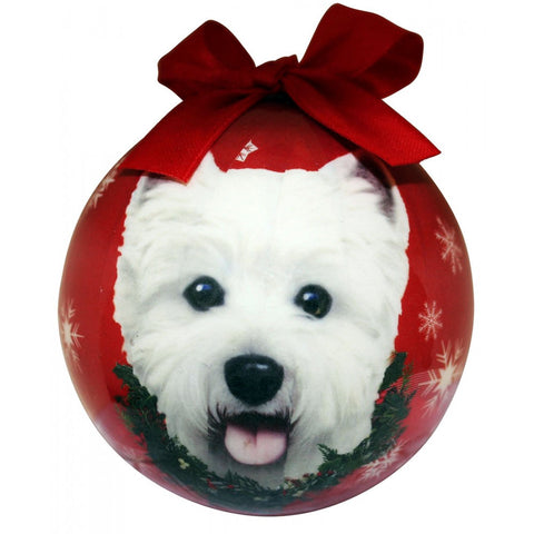 West Highland White Terrier Dog Christmas Ornament Shatter Proof Ball - 3""
