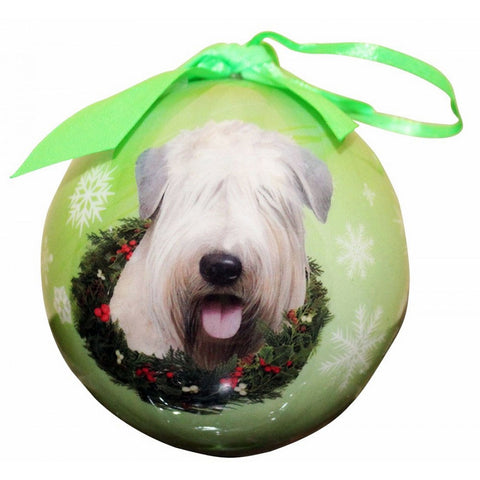 Wheaten Terrier Dog Snowflake Christmas Ornament Shatter Proof Ball - 3""