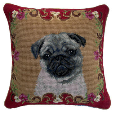 "Fawn Pug Dog - 14"" Needlepoint Dog Pillow"