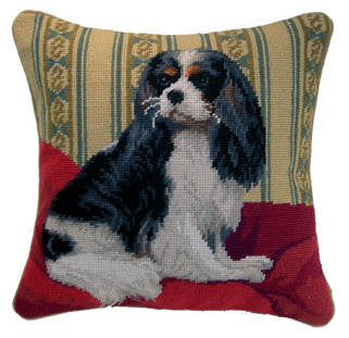 "Tri Color Cavalier King Charles Spaniel Dog - 14"" Needlepoint Dog Pillow"