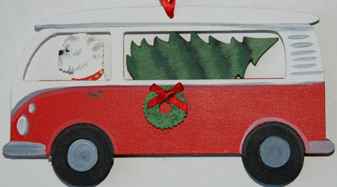 Hippie Van Bus Dog Wood 3-D Hand Painted Ornament - West Highland White Terrier