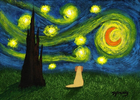 "Yellow Labrador Retriever Dog Starry Night Print - 5"" x 7"""