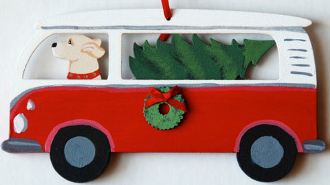 Hippie Van Bus Dog Wood 3-D Hand Painted Ornament - Yellow Labrador Retriever