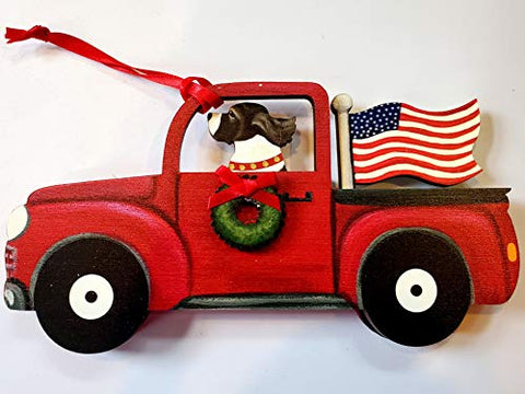 Dandy Design English Springer Spaniel Liver Dog Retro Flag Truck Wooden 3-Dimensional Christmas Ornament - USA Made.