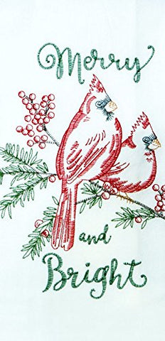 "Kay Dee Embroidered Merry And Bright Winter Cardinals Flour Sack Dish Towel - 18"" x 28"""
