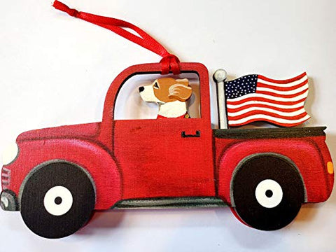 Dandy Design Beagle Hound Dog Retro Flag Truck Wooden 3-Dimensional Christmas Ornament - USA Made.