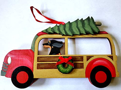 Dandy Design Black Tan Dachshund Dog Woody Woodie Car Wooden 3-Dimensional Christmas Ornament - USA Made.