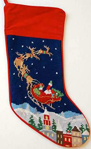 Festive Santa Reindeer Flight Wool Needlepoint Christmas Stocking