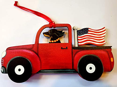 Dandy Design Black Dachshund Dog Retro Flag Truck Wooden 3-Dimensional Christmas Ornament - USA Made.