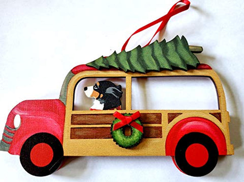 Dandy Design Bernese Mountain Dog Woody Woodie Car Wooden 3-Dimensional Christmas Ornament - USA Made.