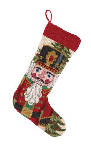 Regal Nutcracker Soldier Christmas Hooked Wool Stocking