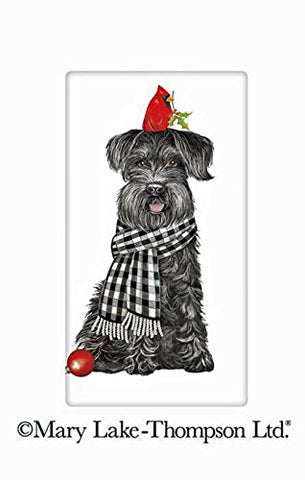 "Mary Lake Thompson Schnauzer With Cardinal Christmas Dog 100% Cotton Flour Sack Dish Tea Towel 30"" x 30"""