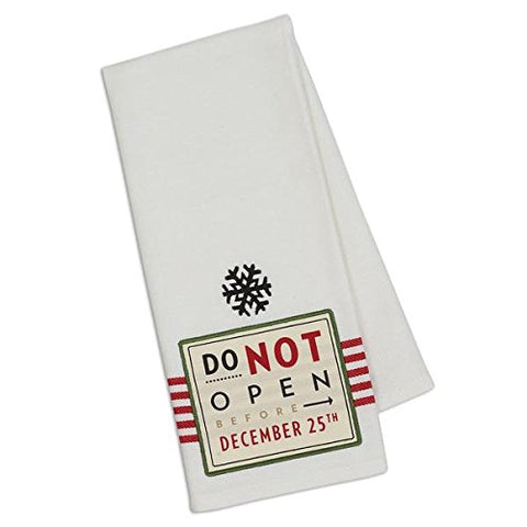 "Design Imports Embellished Do Not Open Til Christmas Dish Towel - 18"" x 28"""