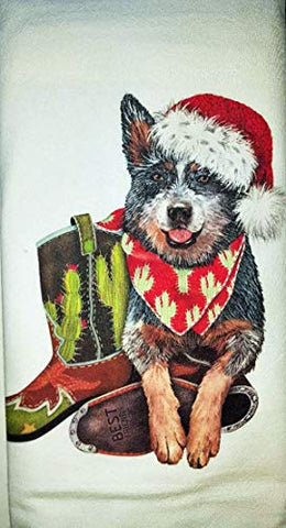 Mary Lake Thompson Western Blue Heeler Holiday Dog Kitchen Dish Towel