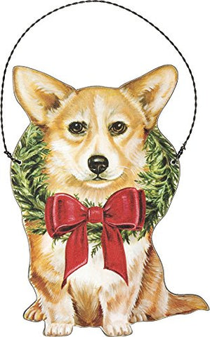 Corgi Dog Hanging Wooden Christmas Tree Ornament