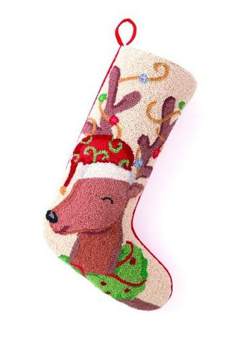 Festive Reindeer Hook Wool Christmas Stocking 13x21""