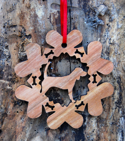 Cherry Wood Laser Cut Dog Bone Snowflake Christmas Ornament - Beagle Hound