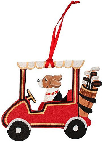 Golf Cart Dog Wood 3-D Hand Painted Ornament - Beagle Hound