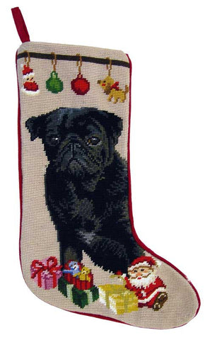 "Black Pug Dog Christmas Needlepoint Stocking - 11"" x 18"""