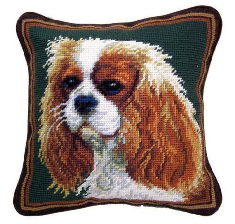 "Blenheim Cavalier King Charles Spaniel Dog Portrait - 10"" Needlepoint Dog Pillow"