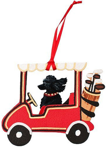 Golf Cart Dog Wood 3-D Hand Painted Ornament - Black Poodle