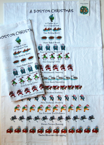 "Twelve Days of a Boston Christmas Kitchen Dish Towel - 18"" x 26"""