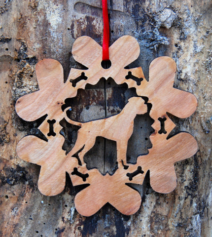 Cherry Wood Laser Cut Dog Bone Snowflake Christmas Ornament - Boxer