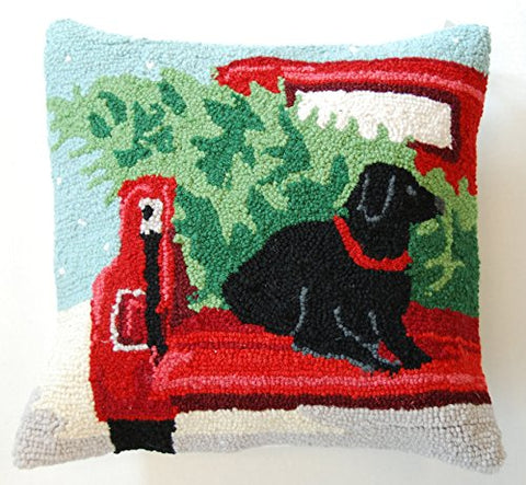 "Back Of The Truck Christmas Tree Black Labrador Retriever Dog Wool Hooked Dog Throw Pillow - 16"" x 16"""