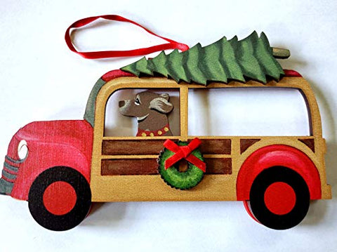 Dandy Design Chocolate Retriever Dog Woody Woodie Car Wooden 3-Dimensional Christmas Ornament - USA Made.