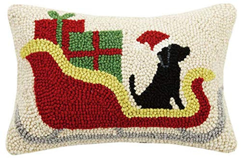 "Christmas Sleigh Black Lab Dog Christmas Mini Hooked Wool Pillow - 8"" x 12"""