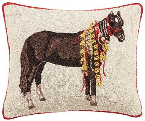 "Black Horse with Christmas Bells Hooked Wool Lumbar Pillow - 16"" x 20"""