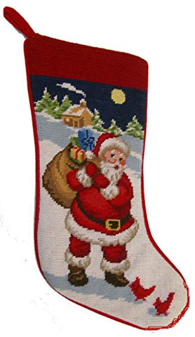 Elegant Decor Winter Snowman Cardinals Needlepoint Christmas Stocking