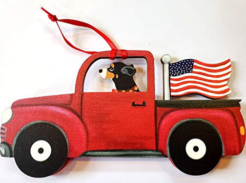 Dandy Design Greater Swiss Mountain Dog Retro Flag Truck Wooden 3-Dimensional Christmas Ornament - USA Made.