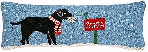 "Black Labrador Dog Santa Mail Wool Hooked Throw Bolster Style Pillow - 9"" x 26"""