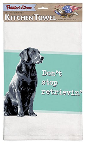 Fiddler's Elbow Don't Stop Retrieving Black Lab Dog Cotton Pique Dish Towel