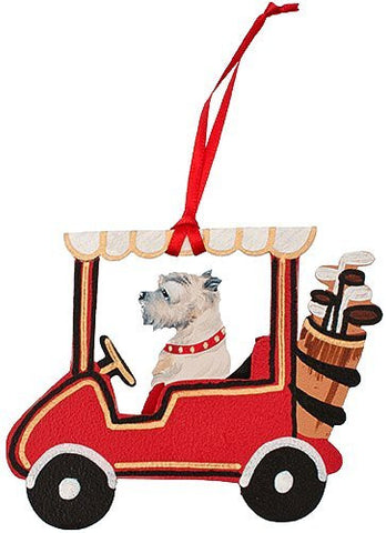 Golf Cart Dog Wood 3-D Hand Painted Ornament - Cairn Terrier