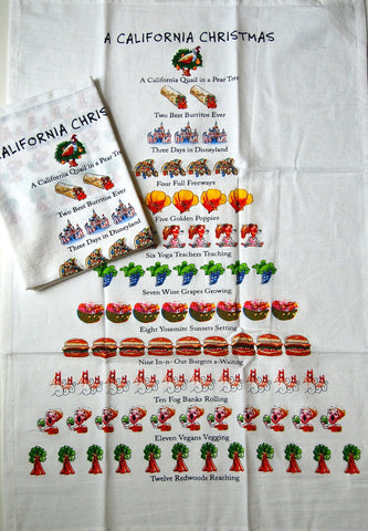 "Twelve Days of a California Christmas Flour Sack Kitchen Dish Towel 18"" x 26"""
