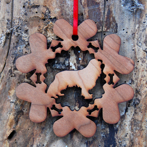 Cherry Wood Laser Cut Dog Bone Snowflake Christmas Ornament - Cavalier King Charles Spaniel