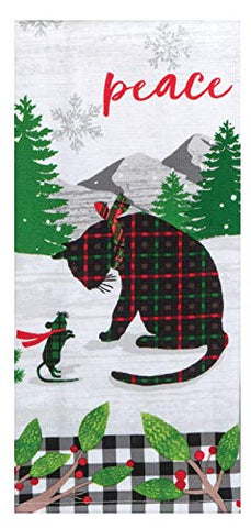 Kay Dee Designs - Holiday Kitties Peace, Dual Purpose Dish Towel, 16 x 26